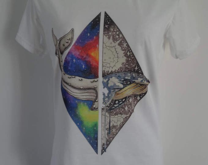 Women's Galaxy Whale T-Shirt - UK 12 14 16 - Tattoo Eco Earth Alternative