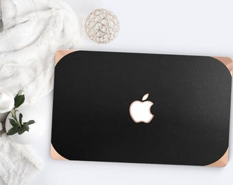 Platinum Edition Matte Black Leather with Rose Gold/Copper Edge Detailing Hybrid Hard Case for Apple Macbook Air & Mac Pro 13 Retina