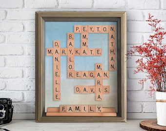 Authentic Personalized Framed Scrabble Wall Art - Family Scrabble Art Shadow Box Anniversary Gift Birthday Gift For Moms Family Gift
