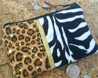 Animal Print Coin Purse, Leopard Zipper Wallet, Zebra Coin Purse