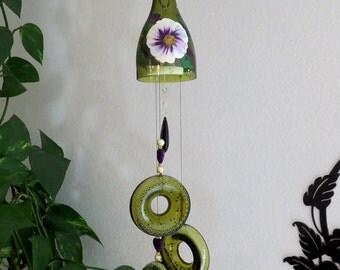 Glass Wind Chime, Recycled wine bottle wind chime,  Sun catcher, Yard art, Patio decor, House warming, Wine bottle bottoms, White and Purple