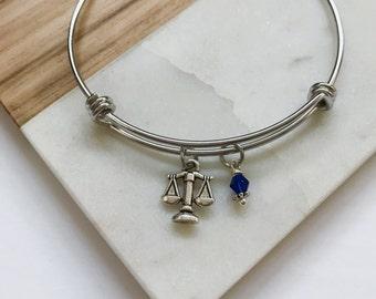 Criminal Justice Bangle Bracelet Gift - Lady Justice Scales - Law Enforcement Cop Gifts for Her