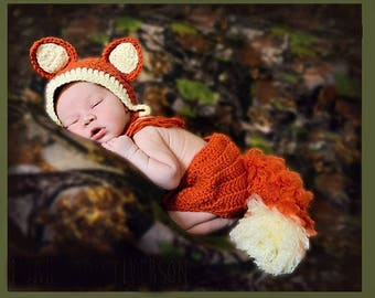 Crochet Baby Fox Bonnet and Diaper Cover/Photo Prop