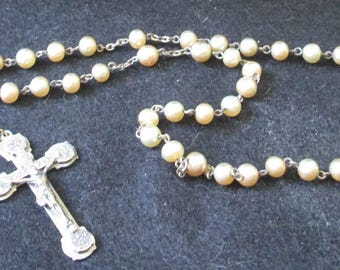 Vintage  Pearlized Rosary - One of two very vintage pieces - Estate find!