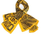 NEW: Hand printed silk scarf, Bold Yellow oversized scarf, Handmade african inspired scarf, Statement designer shawl by Dikla Levsky