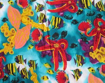 """OOP Alexander Henry Tropical Fish Fabric 3Y+21"""" Bold Colors Beach Ocean lake"""