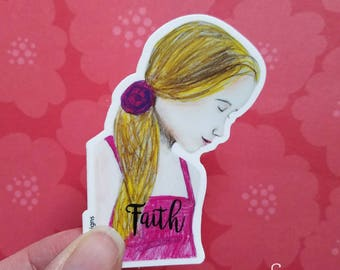 """Vinyl Art Sticker of inspirational """"Faith"""" printed from whimsical drawing of girl. Decal for Scrapbook, Planner, Laptop, Journal, Christian"""