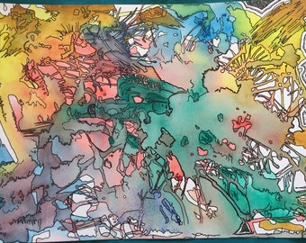 On the Inside Abstract Watercolor/Ink Painting with hidden images