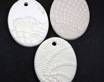 Set of 3 Buff Stoneware Bisque Oval Ornaments
