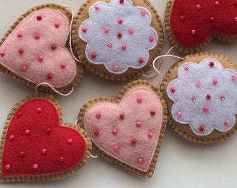 Valentine Cookie Valentine's Day Garland -Valentine Decoration-Valentine's Day Garland--Felt Cookie-Valentine's Day Decoration-Felt Garland
