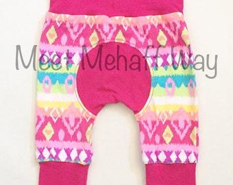 Neon Tribal Print Maxaloones -- Aztec Print -- Grow With Me Pants -- Optional Bum Circle -- NB to 5 years