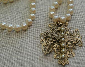 Vintage Pearl Cross Necklace, Two Crosses, Beautiful Classic Pearls, Great Gift for Her, Filigree Detail, One of a Kind By UPcycled Works