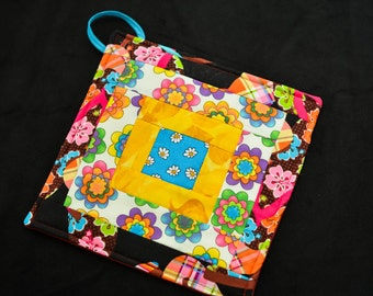 Mini Quilt Flower  Potholder