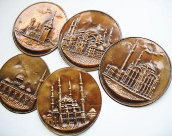Lot of 5 Recycled Copper Disks Embossed Old World Building for Crafting Art