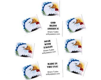 10 Eagle Cards, Mini Cards, Tiny Note Cards, Inspirational Quotes, Stocking Stuffers, Patriotic Eagle, Lunch Box Notes, Small Cards