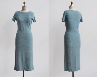 SALE One Way Ticket Dress / 1950's knit wiggle dress / blue knit day dress