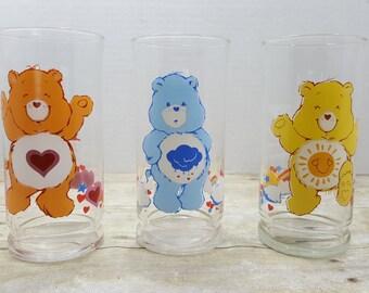Care Bear Glasses, set of 3, Pizza Hut, 1983, vintage advertising glasses, fast food