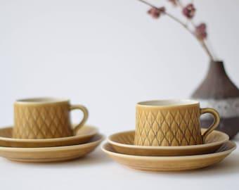Quistgaard - RELIEF - Set of 2 - tea trio - cup, saucer, teaplate - Kronjyden - Danish mid century tableware