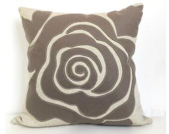 Modern Rose Petal Pillow in Warm Grey Beige Felt on Oatmeal Cotton Linen