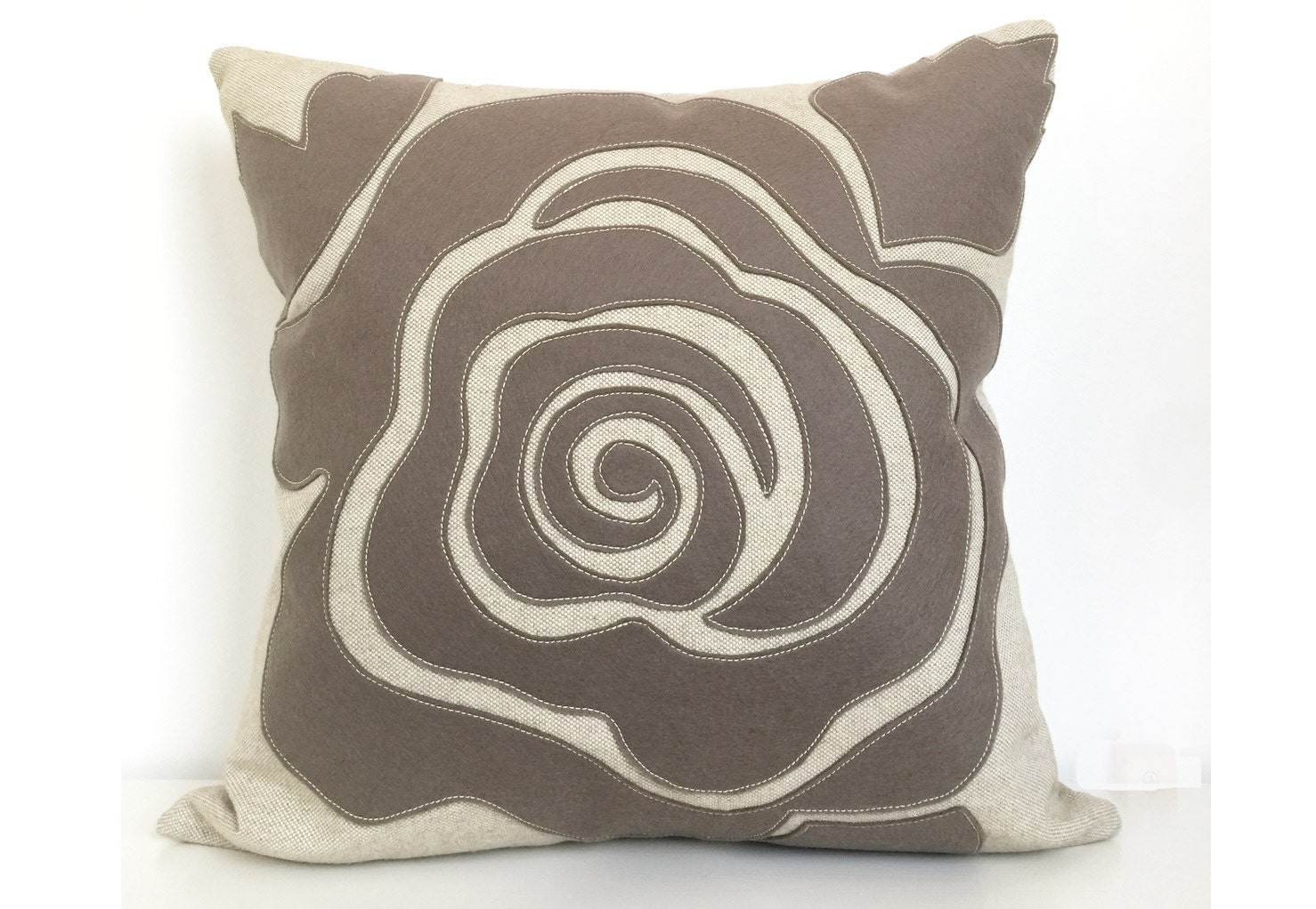 Modern Rose Petal Pillow in Warm Grey Beige Felt on Oatmeal
