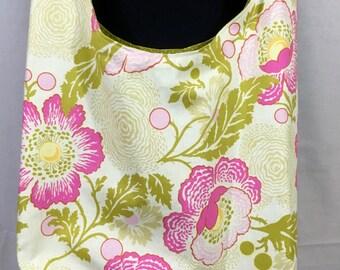 Floral hobo bag, pink and green floral sling bag, cloth purse
