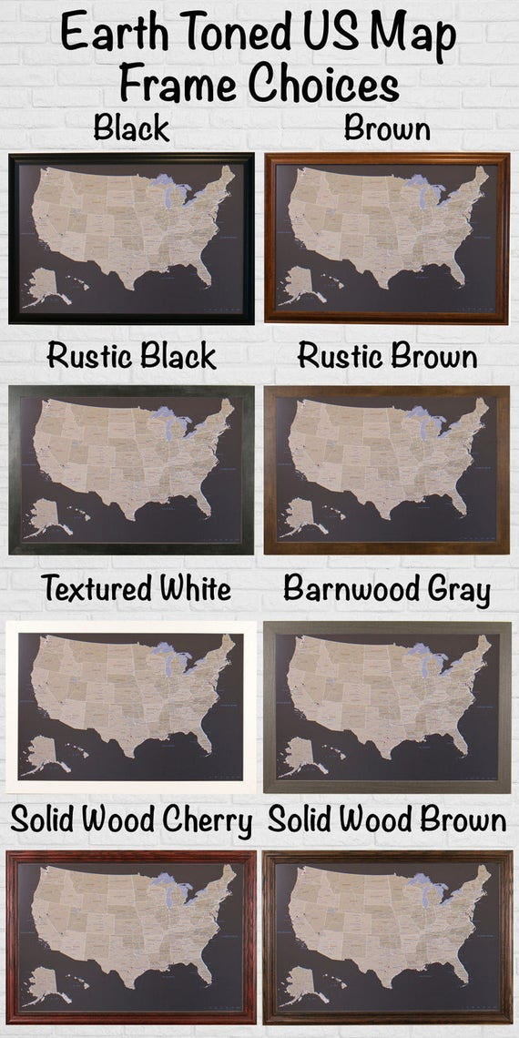 Worksheet. Earth Toned US Push Pin Travel Map with Pins and Frame 24x36