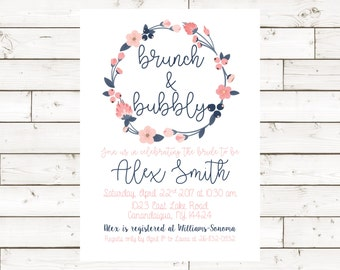 Brunch and Bubbly Bridal Shower Invite- 5x7- Digital