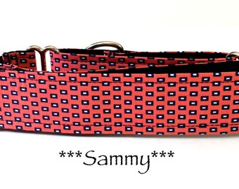 Martingale Dog Collar, Buckle Collar, Adjustable Dog Collar, Custom Dog Collar, Geometric dog collar, Salmon Dog Collar, Dots, Sammy