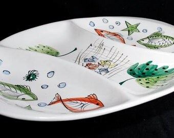 Lovely Italian Ceramic Divided Serving Platter