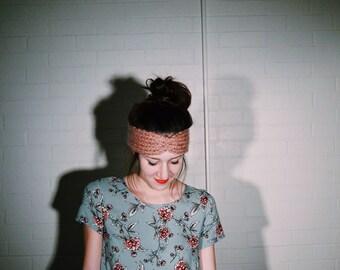SALE: Rose Pink Alpaca Yarn Knitted Cinched Headband/Headwrap