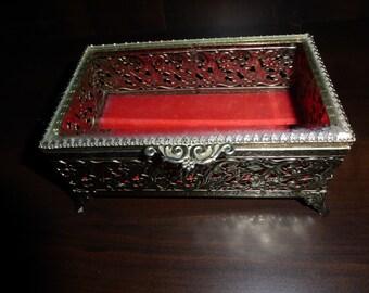 "Vintage Jewelry Casket Trinket Box Beveled Glass Hinged Lid and  Filigree 6"" X 4"""