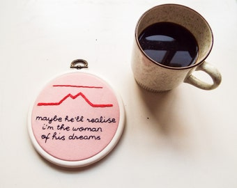Hand embroidered hoop art - Twin Peaks Audrey Horne quote