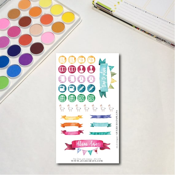 Whimsical Llama Planner Sticker Sheet, The One with Llamas - Banners, Erin Condren, Happy Planner, Traveler's Notebook