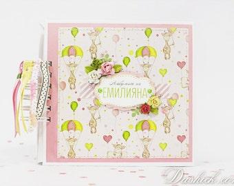 Scrapbook Baby Girl Album, Girl's gift, Baby's First Year Scrapbook Album, Newborn book, Interactive Baby Album