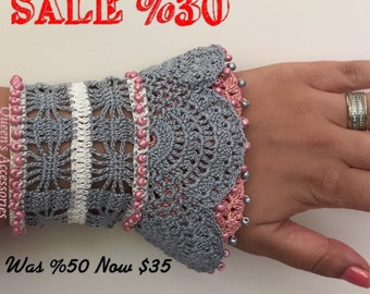 Beaded Crochet Cuff Bracelet, Gray Pink Cream Bracelet, Freeform Bracelet, Fall Fashion Jewelry, Handmade