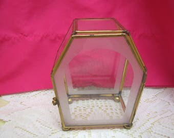 """vintage Multi sided GLASS and Brass JEWELRY Display Case with feet **  * 5  3/4 """" tall x 4  1/4 """" across x 2  3/4"""" deep"""