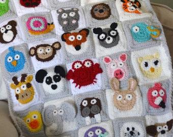 Crocheted Animal Blanket