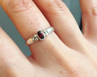 Garnet Gemstone Sterling Silver Ring,Silver Ring, Bohemian Jewelry