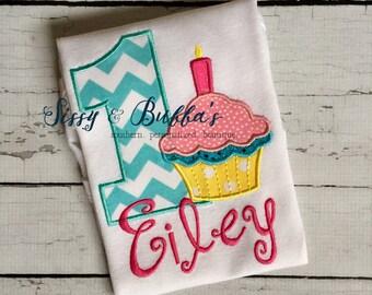 Personalized Cupcake Birthday Applique Shirt, first birthday shirt, cupcake birthday shirt, girls, cupcake applique shirt