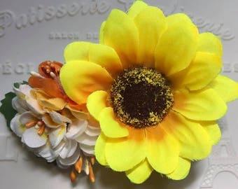 Handmade Spring Garden Faux Flower Hair Clip Barrette (Sunflower)