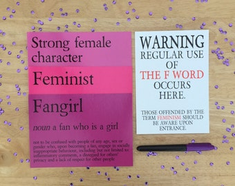 """Deluxe Feminism Bundle: 4x 5x7"""" Postcard Prints and More Funny Feminist/Fangirl/Strong Female Character Definition Gift"""