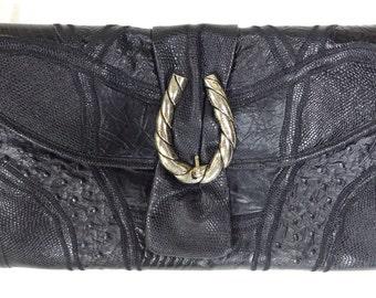 Vintage Caprice Handbag Bag with Shoulder Strap Leather with Alligator Print