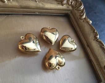 heart charms, vintage craft supplies, jewelry supplies, gold, hearts