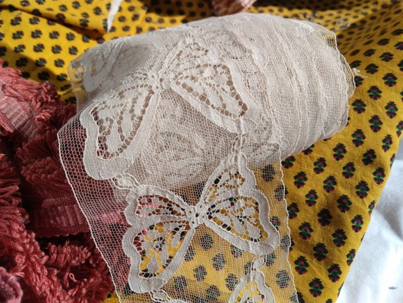 Antique French Butterfly White Cotton Tulle Lace Sold by the Yard Unused Sewing Project Bridal Lace Collectible #sophieladydeparis