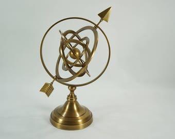 Armillary, Garden Sphere, Garden Globe, Metal Armillary, Desk Top Size, Kinetic Metal Garden Ornament, Yard Decor, Sculpture,  Free Shipping