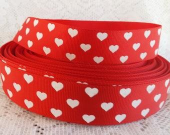 Heart Ribbon red heart grosgrain ribbon 1 inch  grosgrain white heart ribbon