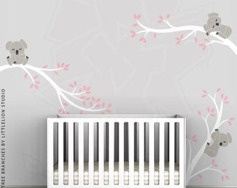 Koala Tree Branches Wall Decal by LittleLion Studio. White, Light Pink, Warm Gray, Charcoal