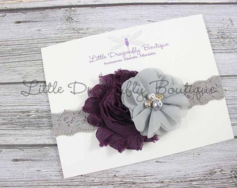 Eggplant purple grey lace headband {shabby headband, cluster headband, fancy headband}