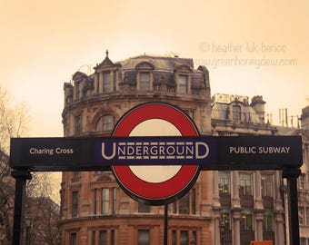 London Subway Underground Photography - Wall Decor - Fine Art Photography Print - Charing Cross, Metro, Symbol