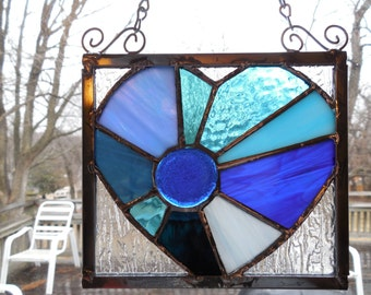 Stained Glass Blue Heart